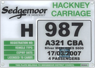 Hackney Carrage Sample Plate