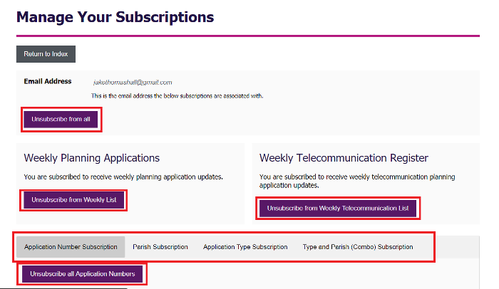 Highlight of input options on manage your subscriptions page